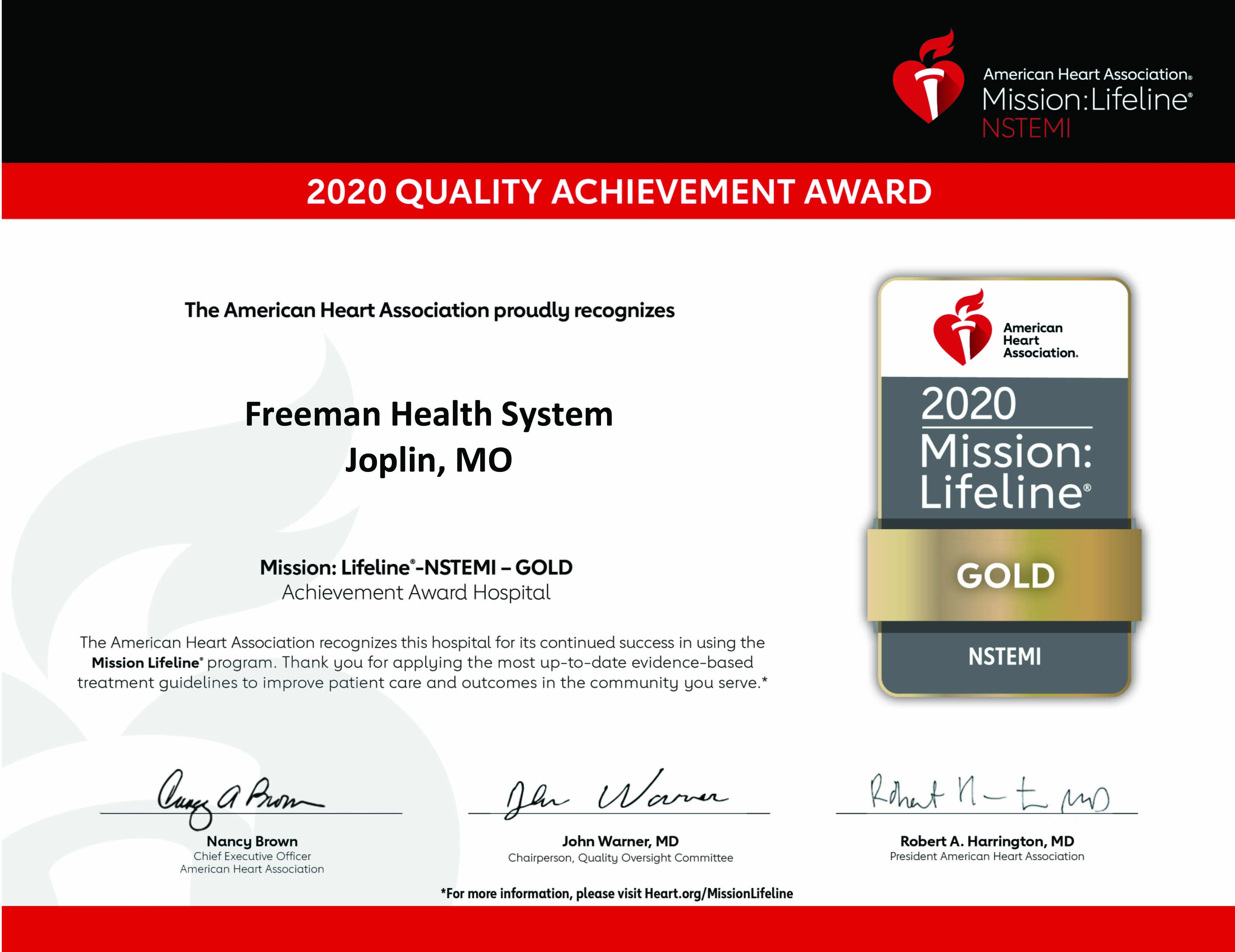 2020 Mission: Lifeline® NSTEMI Gold Recognition Award