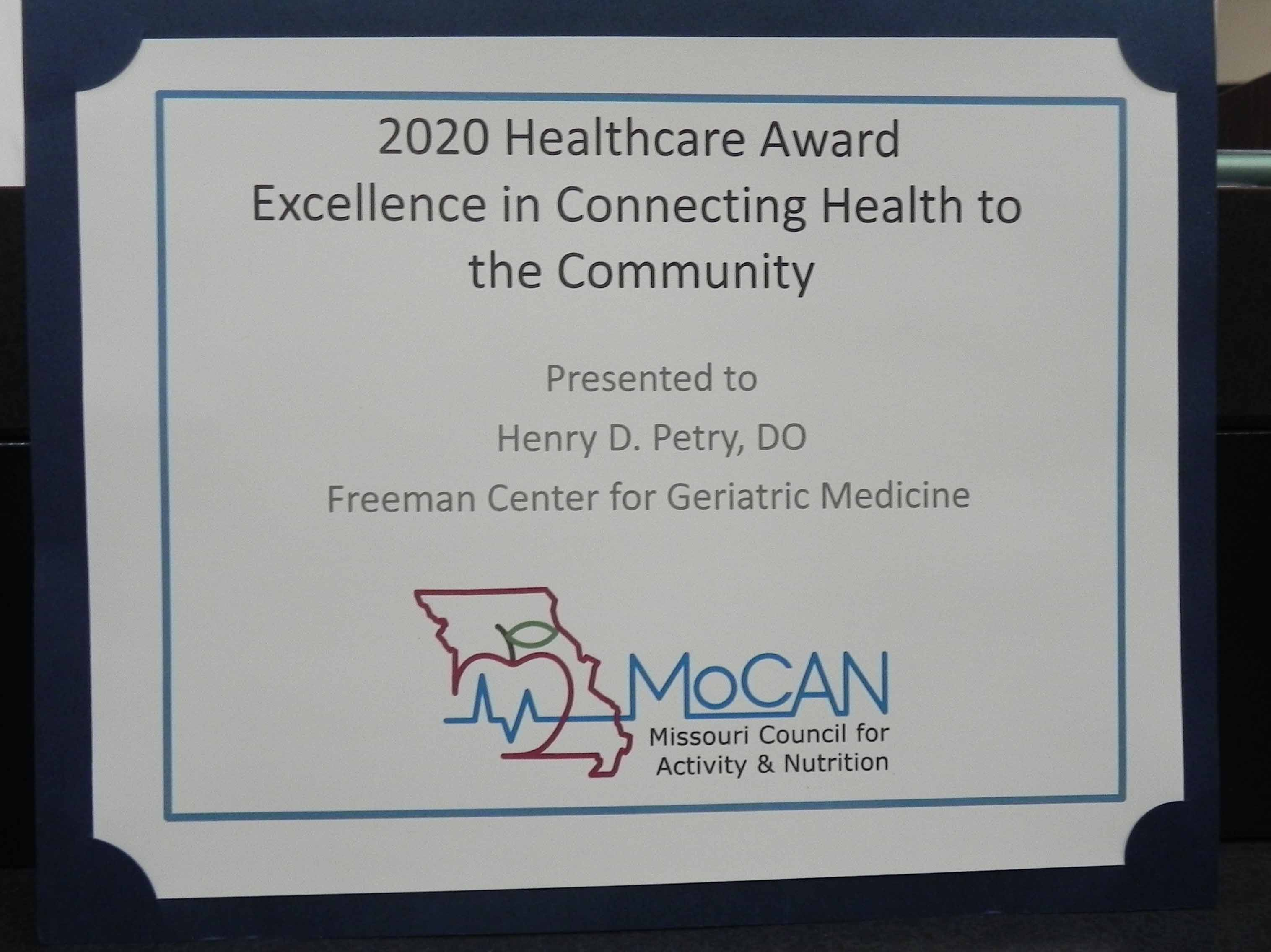 Freeman Physician Receives MOCAN Healthcare Professional Award